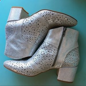 Anthropologie Silent D Silver Booties